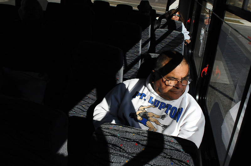 Retired Fort Lupton High School janitor Edward Nunez of Greeley rides the 34-Xpress bus back home from Loveland on Tuesday afternoon. In an effort to boost ridership, the service, which links Loveland and Greeley, just became free and will remain free until December 31. The service hours will also be expanded by an hour in the morning.
