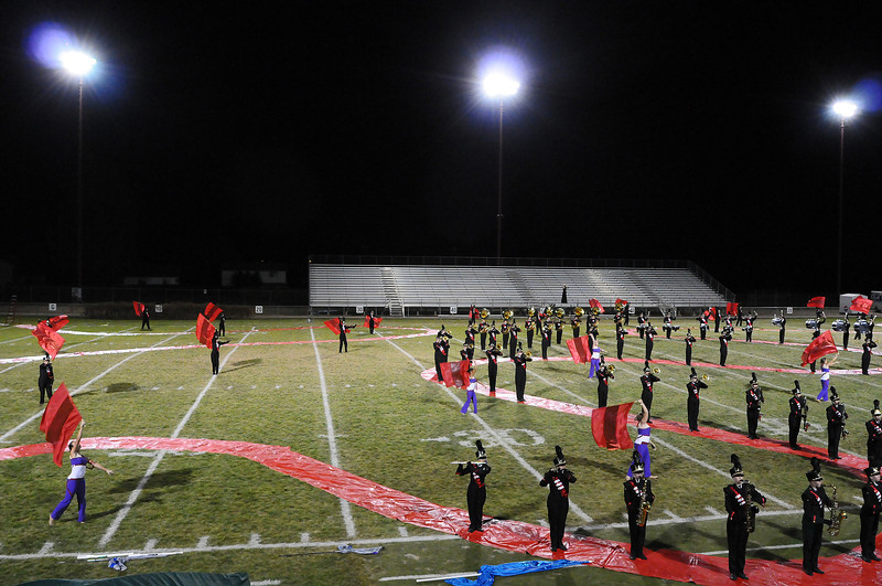 The Loveland High School Crimson Regiment takes to Patterson Field on Wednesday during the Northern Regional Band Competition at Thompson Valley High School on Wednesday.
