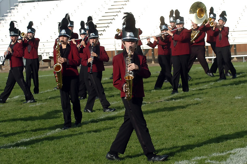 Members of Berthoud High School's Spartan marching band competes Wednesday in the Colorado Bandmasters Association Northern Region State Qualifying Event at Patterson Stadium.
