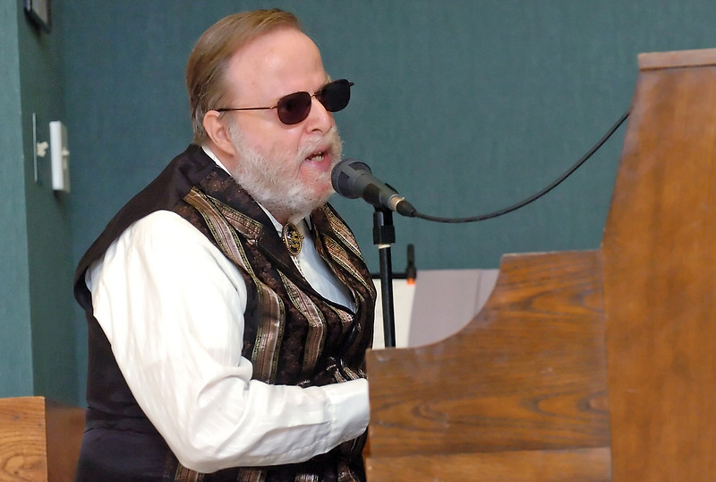 Don Maroney plays piano and sings Wednesday during the Loveland Seniors Got Talent Show at the Chilson Senior Center.