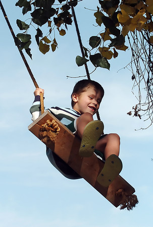 Six-year-old Sawyer Kline of Johnstown peers down at the ground below while playing on a tree swing Saturday afternoon at Osborn Farm in Loveland during Market Days.