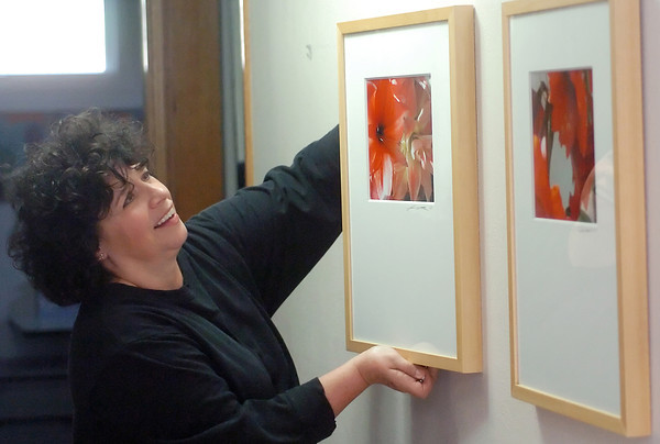 Melissa Neuville hangs one of her prints in her Loveland home Tuesday afternoon in preparation for this weekend's Loveland Art Studio Tour.