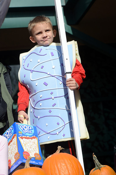 Loveland resident Carson Berndt, 7, is dressed as a Pop Tart as he stands onstage with other contestants in a costume contest during the Halloween Family Fun Festival on Saturday, Oct. 27, 2012 in downtown Loveland.