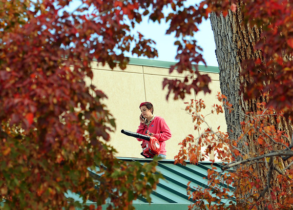 Ashley Iverson with the City of Loveland facilities department is framed by fall leaves on trees near the Loveland Museum and Gallery as she uses a leaf blower to clear debris from the roof and the gutters of the building Wednesday in downtown Loveland.