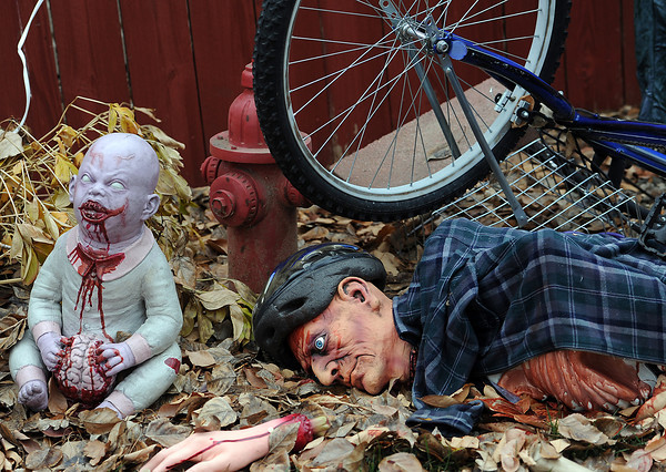 The zombie area is new this year to the Hood family's haunted house in Loveland.