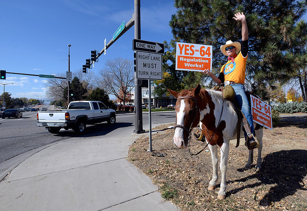 "Sitting on his paint horse Misty, retired police detective Howard Wooldridge waves to folks as he holds a sign asking voters to say Yes on 64 Monday at the intersection of Lincoln Avenue and Eisenhower Blvd in Loveland. Wooldridge, from Fort Worth, Texas, is a lobbyist in Washington D.C. representing law enforcement against the prohibition of marijuana. Speaking about the issue Wooldridge talked about focusing on the bad guy saying ""It's a matter of protecting our own children. We need to arrest more pedophiles by not wasting time on a green plant."" He will be in Longmont Tuesday."