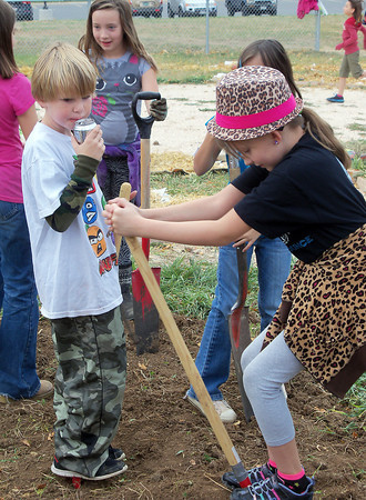 Sami Griffin, 8, right, jumps on a shovel to dig up vegetables earlier this month at the School/Neighborhood Garden at Van Buren Elementary, while Jacob Gargan, 8, takes a break. The vegetables will be used for stone soup that will be served during the schoolÕs health and wellness night on Thursday, Nov. 8.