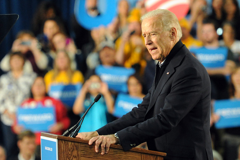 Vice president Joe Biden speaks during a campaign stop on Wednesday, Oct. 17, 2012 at Island Grove Regional Park in Greeley, Colo.