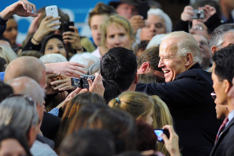 Vice president Joe Biden greets people after giving a speech during a campaign stop on Wednesday, Oct. 17, 2012 at Island Grove Regional Park in Greeley, Colo.