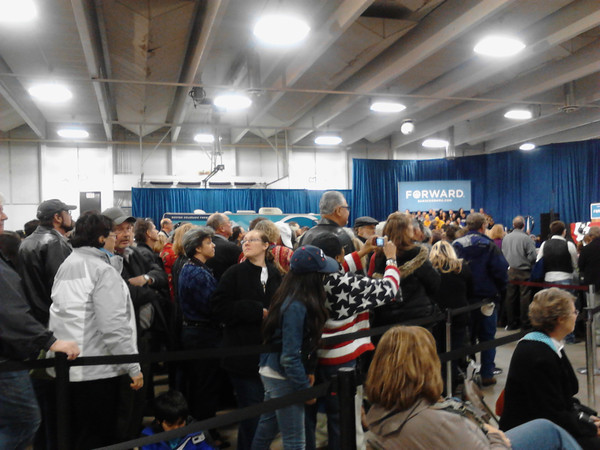 A crowd of hundreds waits for Vice President Joe Biden.