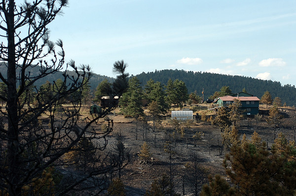 Charred land and trees surround the Theilgaard family home Wednesday after the Reservoir Road fire west of Loveland.