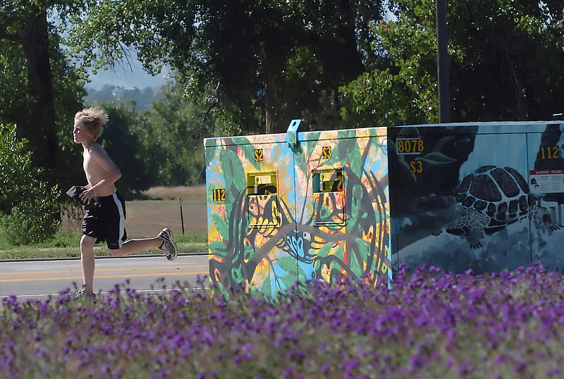 Twelve-year-old Tristan Atkinson runs past a recently-decorated transformer box near the intersection of First Street and Taft Avenue in west Loveland while training Friday afternoon with the Bill Reed Middle School cross country team.
