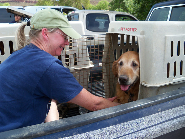 Mary Moser comforts her golden retriever, Jasper, after they were forced to evacuate from their home near Flatiron Reservoir on Sunday. A wildfire evacuated all residents in a four-mile radius around Reservoir Road from their homes.