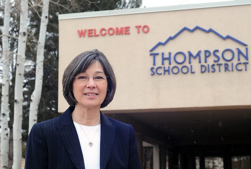 Thompson School District's director of special education Karen Pielin poses outside the district office on Thursday. Pielin is retiring in June.