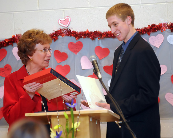 Darryl Beemer, right, during the 94th Annual Student Recognition Program and Patriotic Tea on Wednesday, Feb. 10, 2010 at First United Methodist Church.