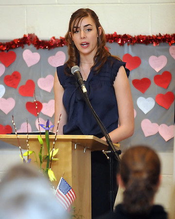 Sonja Ropek speaks during the 94th Annual Student Recognition Program and Patriotic Tea on Wednesday, Feb. 10, 2010 at First United Methodist Church.
