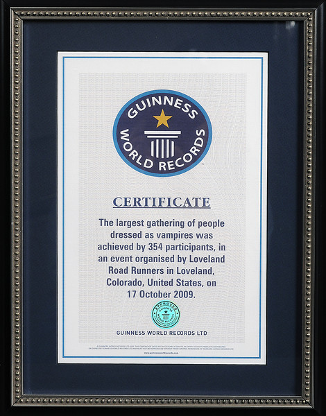 Guiness Book of World Records official certificate for the most people dressed as vampires at one location that was set in Loveland last fall.