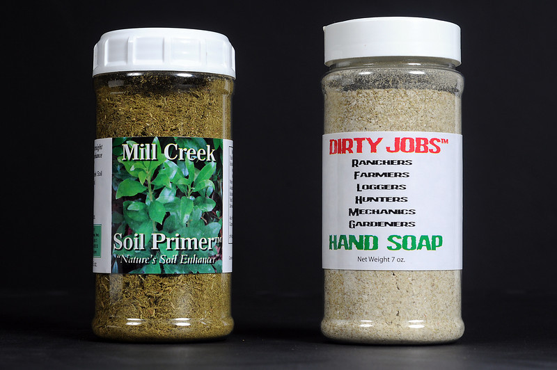 Andre Roy manufactures soil primer and hand soap at his Berthoud workshop using limbs from pine trees harvested on his property north of Fort Collins.