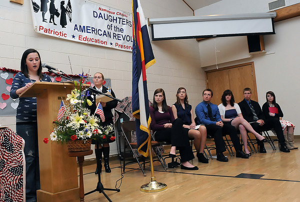 Brittany Schaeffer speaks during the 94th Annual Student Recognition Program and Patriotic Tea on Wednesday, Feb. 10, 2010 at First United Methodist Church.