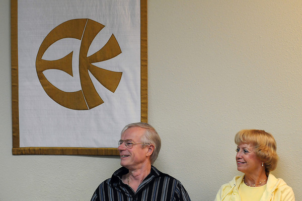 Barry and Laraine Frost listen to a discussion during a service on Sunday, Sept. 20, in Loveland.