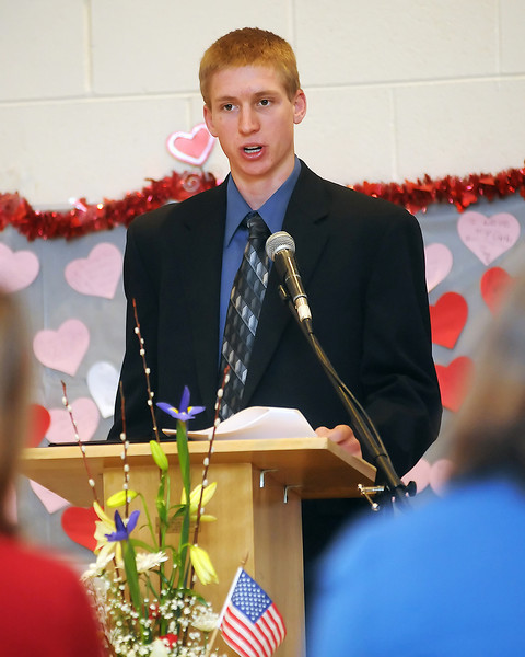 Darryl Beemer speaks during the 94th Annual Student Recognition Program and Patriotic Tea on Wednesday, Feb. 10, 2010 at First United Methodist Church.