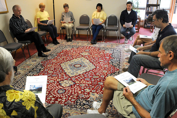 A group of Eckists, or followers of Eckankar meet on Sunday, Sept. 20, during a service in Loveland. The service is not like a traditional church service but is more of a discussion led by a member of the group's rotating clergy.