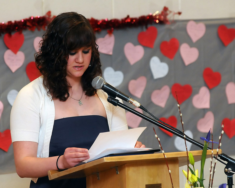 Rachel Searle speaks during the 94th Annual Student Recognition Program and Patriotic Tea on Wednesday, Feb. 10, 2010 at First United Methodist Church.