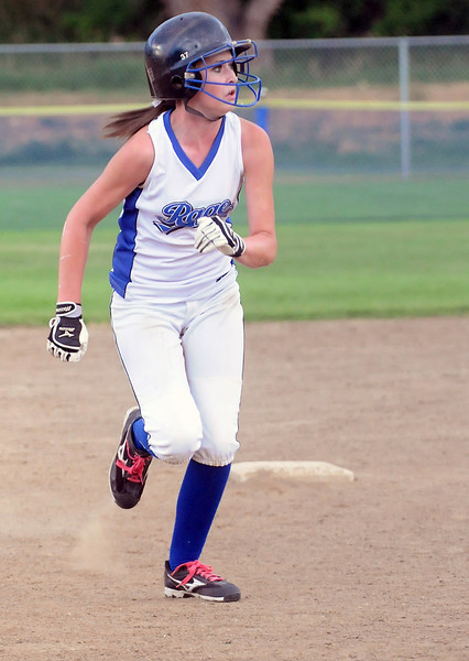 Loveland Rage's Dara Knutson advances to third base on a fielder's choice in the top of the fourth inning of a game against the Hitstreak on Friday, July 8, 2011 at the Barnes Softball Complex. The Rage won, 9-6.