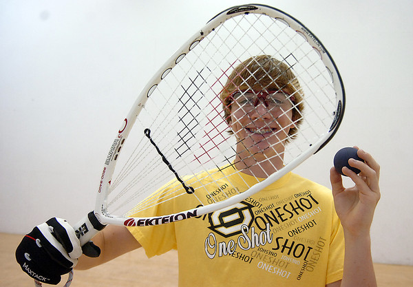 Thompson Valley High School junior Nick Riffel poses for a photo Monday at Orchard's Athletic Club in Loveland. Riffel, 16, qualified to play in the World Junior Racketball Championships in the Dominican Republic later this month.   Photo by Jenny Sparks