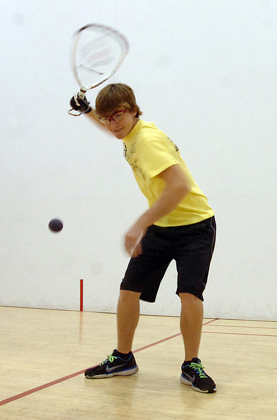 Racketball player Nick Riffel serves the ball Monday at Orchard's Athletic Club in Loveland. Photo by Jenny Sparks