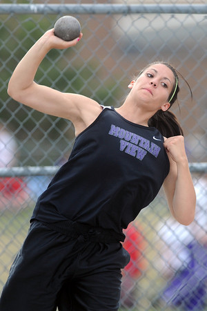 Mountain View High School's Autumn Landry makes a throw while competing the shot put event during the R2-J Invitational on Friday, April 20, 2012 at Loveland High School.