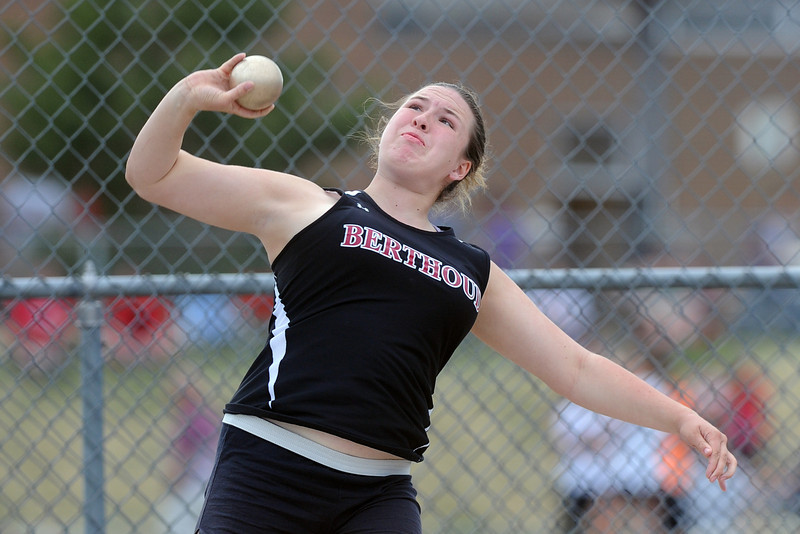 Berthoud High School sophomore Dani Pickert competes in the shot put during the R2-J Invitational on Friday, April 20, 2012 at Loveland HIgh School.