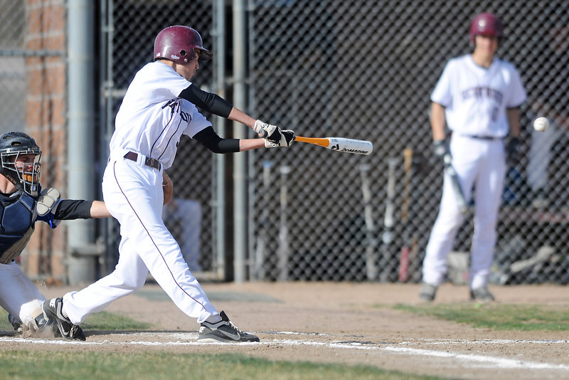 Berthoud High School junior Erik Maas hits a single in the bottom of the fourth inning of a game against Resurrection Christian on Thursday, April 5, 2012 at Sommers Field.