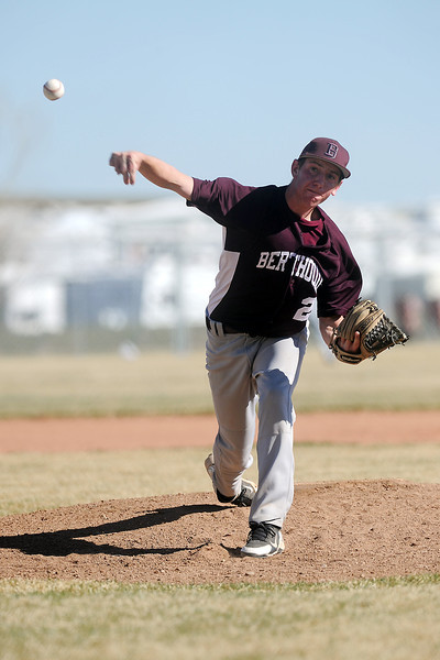 Berthoud High School's Luke Whitfield throws a pitch in the bottom of the first inning of a game against Resurrection Christian on Friday, March 23, 2012 at RCS. The Cougars won in five innings, 12-2.