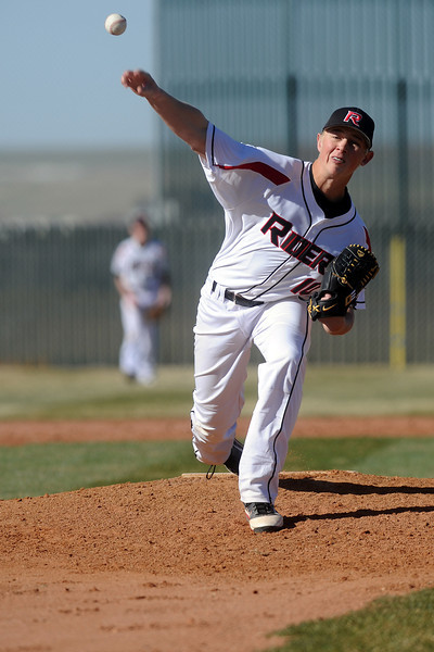 Roosevelt High School's Daniel Kammerzell throws a pitch in th top of the second inning of a game against Northridge on Thursday, March 22, 2012 at RoughRider Ballpark.