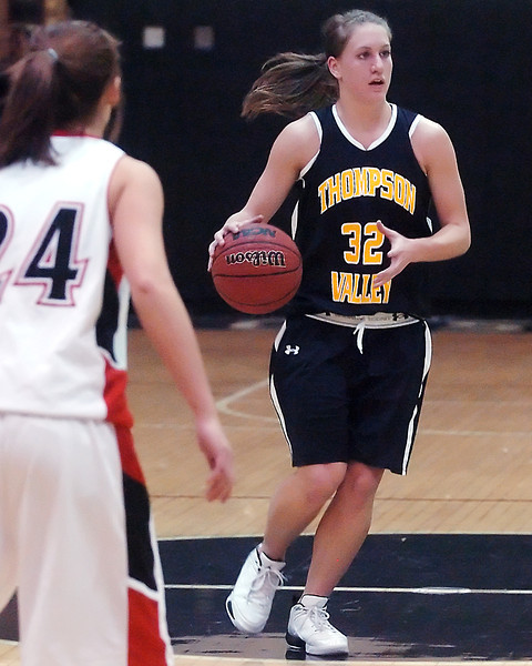 Thompson Valley High School's Morgan Sibrel dribbles upcourt in the second quarter of a game agasint Roosevelt on Tuesday, Jan. 5, 2010 at RHS.