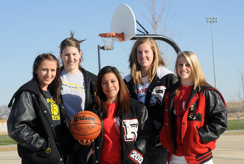 The 2010-11 Reporter-Herald  All-Area girls basketball first team, from left to right, Thompson Valley's Kenzie Archer and Jordan Sibrel, Roosevelt High School's Gabby Ramirez, who is player of the year, and Loveland High School's Kaitlin Flynn and Steph Hutsell.