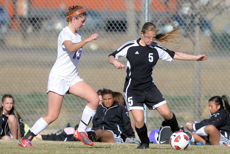 Roosevelt High School's Kim Dillehay, right, dribbles around Mountain View's Sara Smith during their game Wednesday, March 21, 2012 at MVHS.