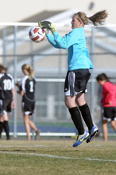 Roosevelt High School goalie Kelsey Kammerzell makes a stop in the first half of a game against Mountain View on Wednesday, March 21, 2012 at MVHS.