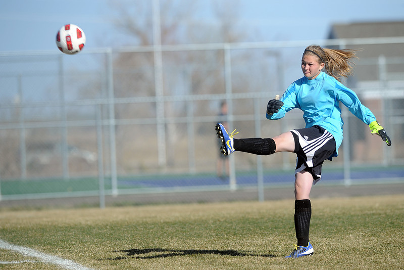 Roosevelt High School goalie Kelsey Kammerzell puts the ball in play with a goal kick in the first half of a game against Mountain View on Wednesday, March 21, 2012 at MVHS.