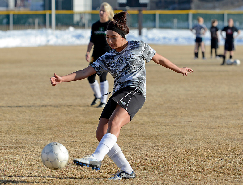 Roosevelt High School soccer player Brie McNeil duirng practice in Johnstown on Wednesday, March 6, 2013.
