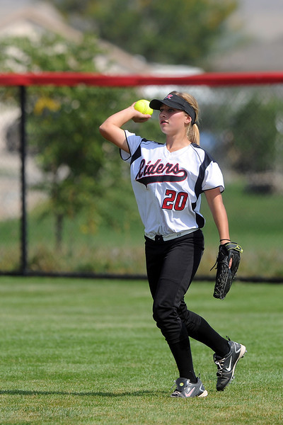Roosevelt High School center fielder Taylor Roth during a game against Berthoud on Saturday, Sept. 22, 2012 at Nelson Farm Park in Johnstown.