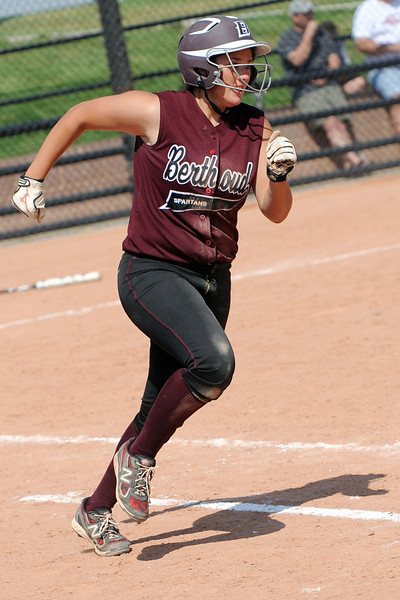 Berthoud High School's Sammie Villarreal sprints to first base for a single in the top of the fourth inning of a game against Roosevelt on Saturday, Sept. 22, 2012 at Nelson Farm Park in Johnstown.