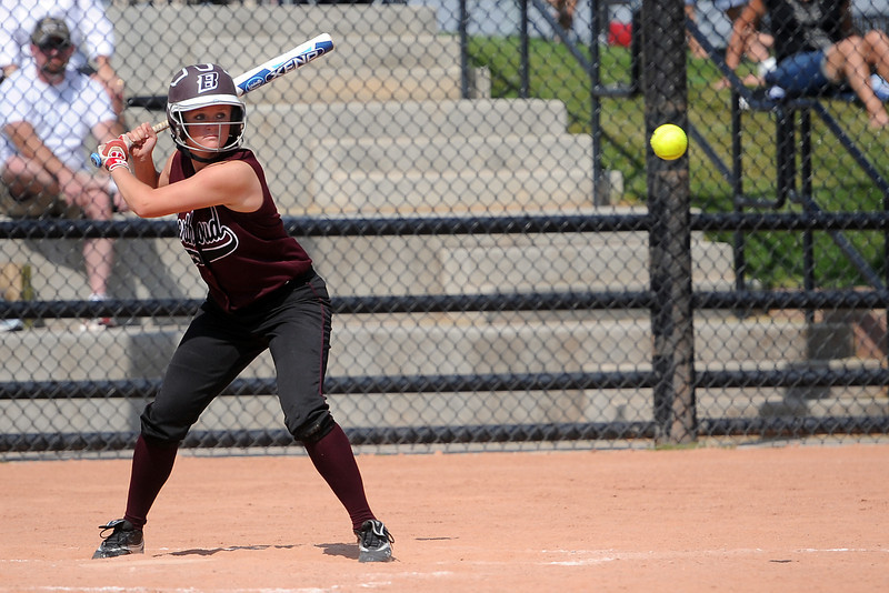 Berthoud High School's Jessica Boruff during an at bat of a game against Roosevelt on Saturday, Sept. 22, 2012 at Nelson Farm Park in Johnstown.