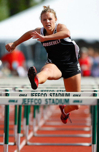 Roosevelt High School 4A 100 hurdles Saturday at Jefferson County Stadium in Denver. (Photo by Gabriel Christus)