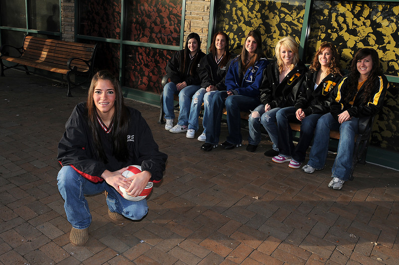 At front is player of the year Megan Velasquez of Roosevelt High School. Seated at rear from left are Roosevelt's Sami Fuentes and Sage Martinson, Resurrection Christian's Anna Dewald and Thompson Valley's Erin Marolf, Sara Hewson and Jordan King.