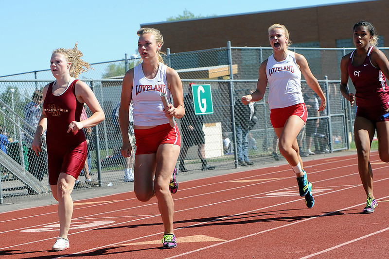 Heat of the girls 400-meter relay during the Rocky Ridge Invitational track meet on Friday, April 27, 2012 at French Field in Fort Collins.