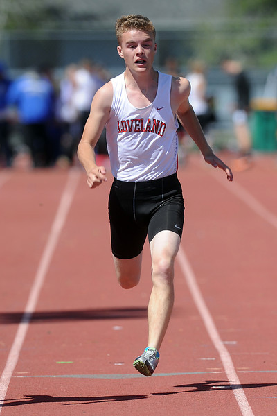 Loveland High School freshman Trevin Long competes in a heat of the 50-meter dash during the Rocky Ridge Invitational track meet on Friday, April 27, 2012 at French Field in Fort Collins.