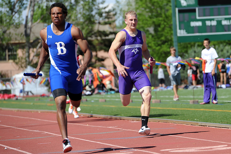 Mountain View High School senior Patrick McQueen, right, sprints to the finish line while anchoring a heat of the 800-meter relay during the Rocky Ridge Invitational track meet on Friday, April 27, 2012 at French Field in Fort Collins.