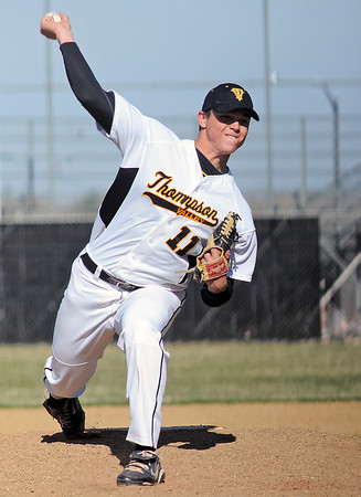 Thompson Valley High School junior Caleb Carlson throws a pitch in the top of the second inning of a game against Mountain View on Tuesday at Constantz Field.